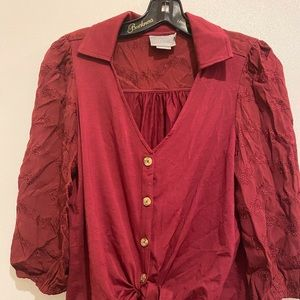 Anthropologie tie front 3/4 sleeve blouse